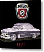 1951 Ford Two Door Sedan Tee Shirt Art Metal Print