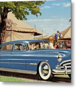 1951 Hudson Hornet Fair Americana Antique Car Auto Nostalgic Rural Country Scene Landscape Painting Metal Print