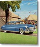 1951 Hudson Hornet - Square Format - Antique Car Auto - Nostalgic Rural Country Scene Painting Metal Print