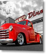 1952 Chevrolet Truck At The Diner Metal Print