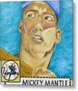1952 Mickey Mantle Rookie Card Original Painting Metal Print by Joseph Palotas