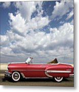1953 Chevy Bel Air Convertible, Mixed Media, Louis Vuitton Steamer Trunk  Metal Print