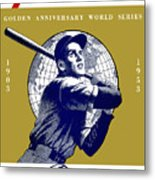 1953 Yankees Dodgers World Series Program Metal Print