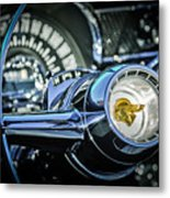 1955 Pontiac Star Chief Steering Wheel Emblem -0103c Metal Print