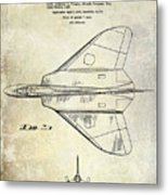 1956 Jet Airplane Patent 2 Blue Metal Print