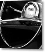 1957 Chevrolet Belair Steering Wheel Black And White Metal Print