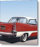 1957 De Soto Car Nostalgic Rustic Americana Antique Car Painting Red  Metal Print