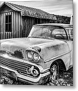 1958 Chevy Del Ray In Black And White Metal Print