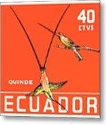 1958 Ecuador Hummingbirds Postage Stamp Metal Print