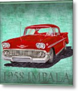 1958 Impala By Chevrolet Metal Print