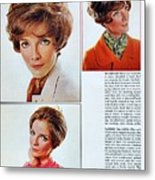 1960 70 Stylish Female Hair Styles Brown Mature Lady Metal Print