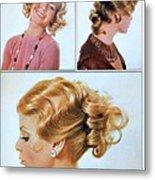 1960 70 Stylish Female Hair Styles Golden Blond Metal Print