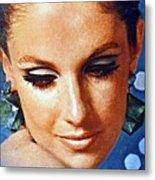 1960 70 Stylish Lady In Blue Metal Print