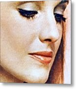 1960 70 Stylish Lady In Red Metal Print