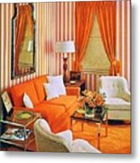 1960 70 Stylish Living Room Advertisement Orange And Stripes Groovy Baby Metal Print