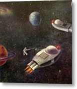 1960s Outer Space Adventure Metal Print