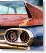 1961 Cadillac Tail Light And Fin Metal Print