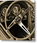 1963 Chevrolet Corvette Steering Wheel - Sepia Metal Print