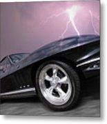 1966 Corvette Stingray With Lightning Metal Print