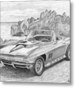 1967 Chevrolet Corvette 427 Convertible Sports Car Art Print Metal Print