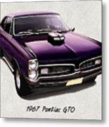 1967 Purple Pontiac Gto Metal Print