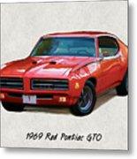 1969 Red Pontiac Gto The Judge Metal Print