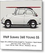 1969 Subaru 360 Young Ss - Creme Metal Print