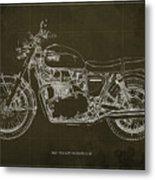 1969 Triumph Bonneville Blueprint Brown Background Metal Print