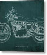 1969 Triumph Bonneville Blueprint Green Background Metal Print