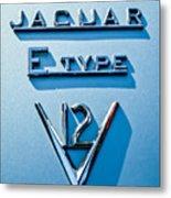 1972 Jaguar E-type V12 Roadster Emblem Metal Print