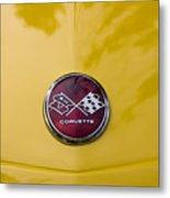 1976 Canary Yellow Vette Hood Emblem Metal Print