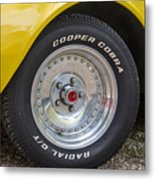 1976 Canary Yellow Vette Wheel Metal Print