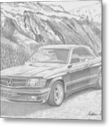 1984 Mercedes Benz 560 Sec Amg Classic Car Drawing Metal Print