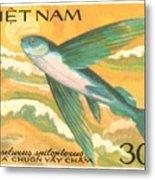 1984 Vietnam Flying Fish Postage Stamp Metal Print