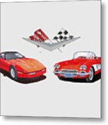 1986 And 1961 Corvettes Metal Print