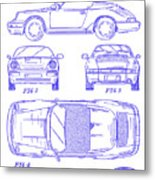 1990 Porsche 911 Patent Blueprint Metal Print
