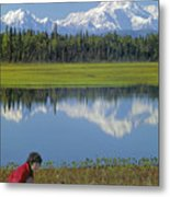 1m1326 Wife And Son In Denali National Park Metal Print