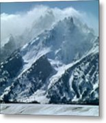 1m9314 Clouds Over The Tetons Metal Print