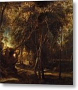 A Forest At Dawn With A Deer Hunt Metal Print