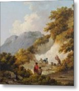 A Mother And Child Watching Workman In A Quarry, Metal Print