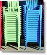 A Rainbow Of Chairs Metal Print