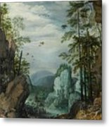 A Rocky Landscape With Travelers Metal Print