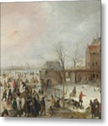 A Scene On The Ice Near A Town Metal Print