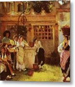 A Venetian Fan Seller Henry Woods Metal Print