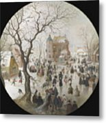A Winter Scene With Skaters Near A Castle Metal Print