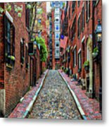 Acorn Street Boston Metal Print