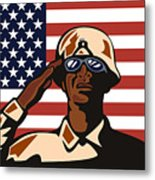 American Soldier Saluting Flag Metal Print