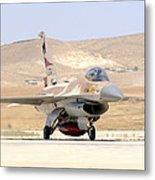 An Israeli Air Force F-16a Netz Taxiing Metal Print