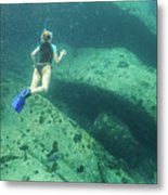 Apnea In Tropical Sea Metal Print