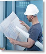 Architect Builder Studying Layout Plan Of The Room Metal Print
